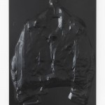 Anton Stoianov, Untitled (leather jacket), 2013, metal, leather, carbon fiber vinyl, 95 x 75 x 8 cm