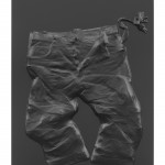 Anton Stoianov, Untitled (leather pants), 2014, metal, leather, carbon fiber vinyl, 95 x 75 x 8 cm