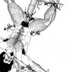 Gengoroh Tagame, Tsuchihattuke, 1991, Ink on paper 55, 5 x 42, 5 cm (Image 26,5 x 19 cm)