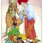 Gengoroh Tagame, Hana, 1992 Acrylic on cardboard 55, 5 x 42, 5 cm (Image 32, 5 x 25 cm)