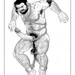 Gengoroh Tagame, Samurai, 1993 Ink on paper 55, 5 x 42, 5 cm (Image 34 x 23, 5 cm)