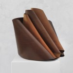 Carmelo Tedeschi, Rocaille (brown), 2013, hand stitched vegetable tanned leather, 50 x 50 x 70 cm (side view)
