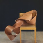 Carmelo Tedeschi, Chair, 2012, hand stitched molded leather and Sven Markelius chair 1930, app 120 x 120 x 100 cm