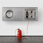 Xavier Mazzarol, Home in transit, 2016, metal, gas cylinder and platic tube, 159 x 180 x 72 cm