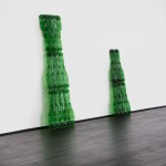 Xavier Mazzarol, Penner (Green), 2017, glass, 2 elements, 132 x 40 cm and 90 x 34 cm (side view)